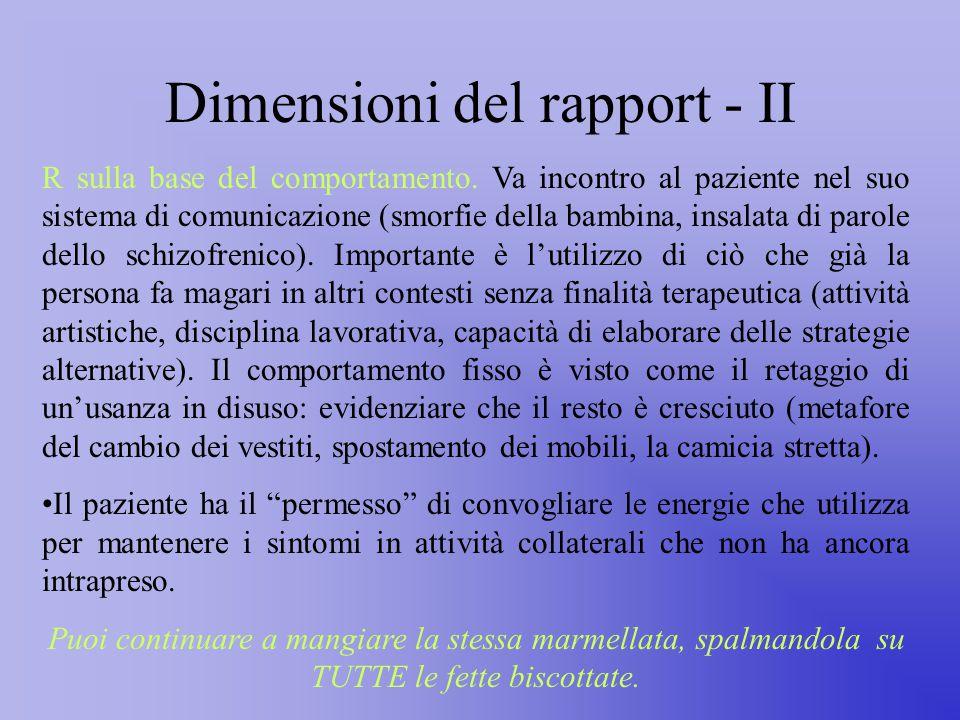 Dimensioni del rapport - II R sulla base del comportamento.