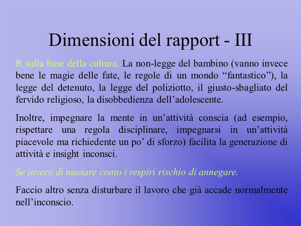 Dimensioni del rapport - III R sulla base della cultura.