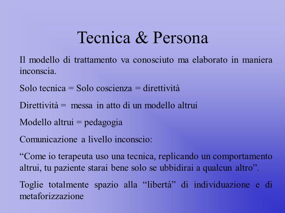 Tecnica & Persona Il modello di trattamento va conosciuto ma elaborato in maniera inconscia.