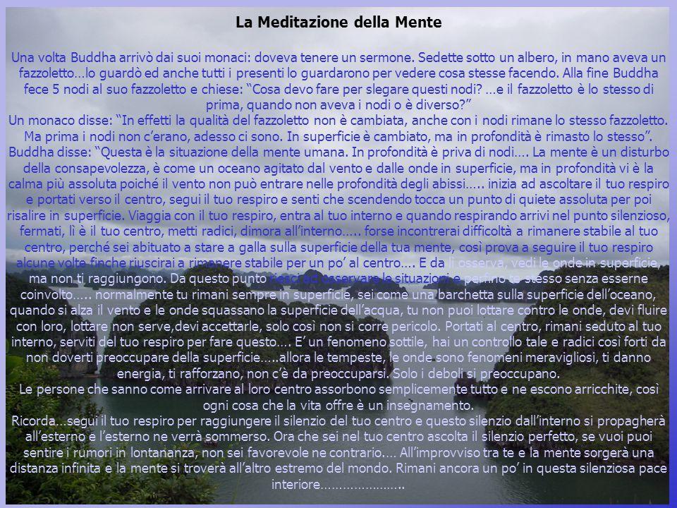 La Meditazione della Mente Una volta Buddha arrivò dai suoi monaci: doveva tenere un sermone.