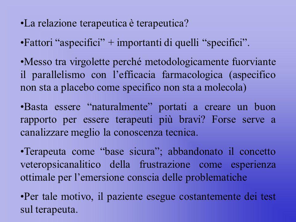 La relazione terapeutica è terapeutica.Fattori aspecifici + importanti di quelli specifici .