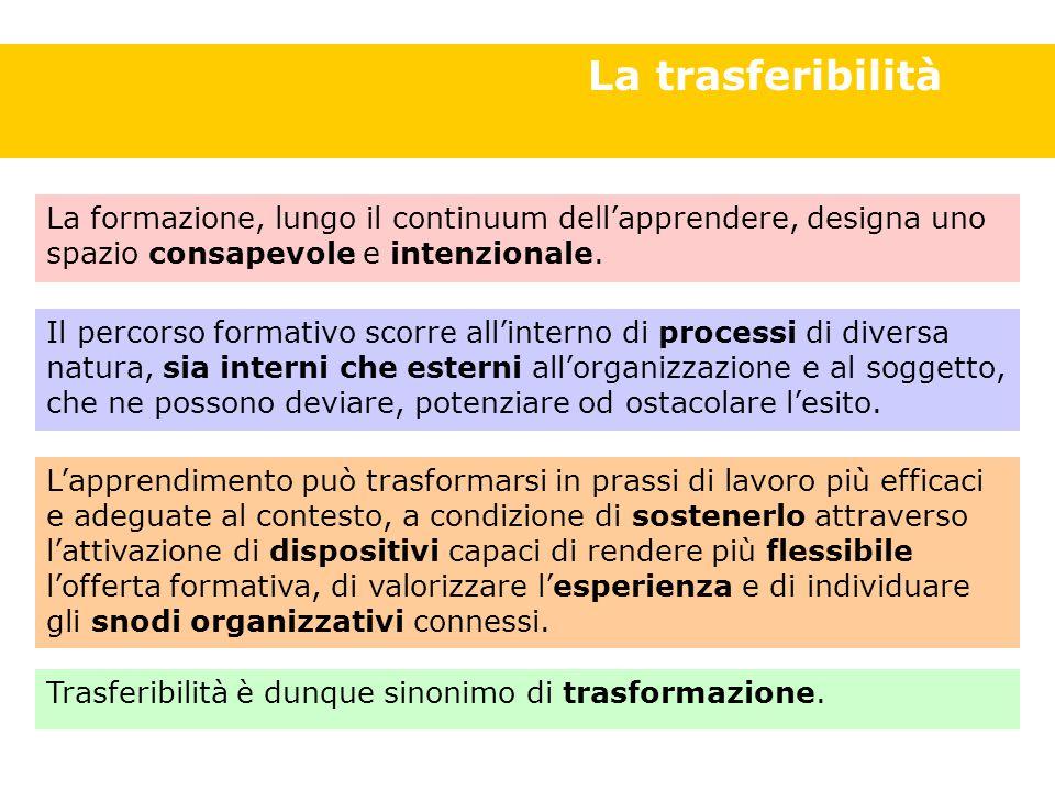 Definizione di trasferibilità La trasferibilità Il percorso formativo scorre all'interno di processi di diversa natura, sia interni che esterni all'organizzazione e al soggetto, che ne possono deviare, potenziare od ostacolare l'esito.