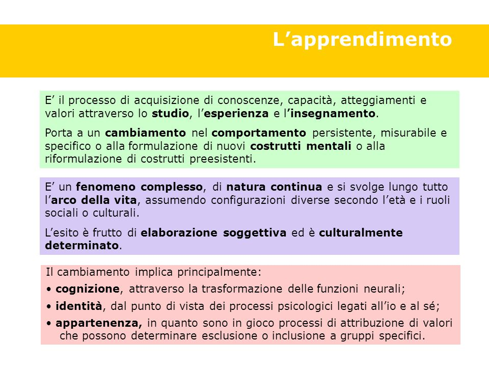 Definizione apprendimento L'apprendimento E' il processo di acquisizione di conoscenze, capacità, atteggiamenti e valori attraverso lo studio, l'esperienza e l'insegnamento.