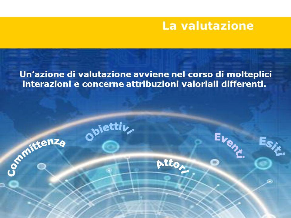 La valutazione Un'azione di valutazione avviene nel corso di molteplici interazioni e concerne attribuzioni valoriali differenti.
