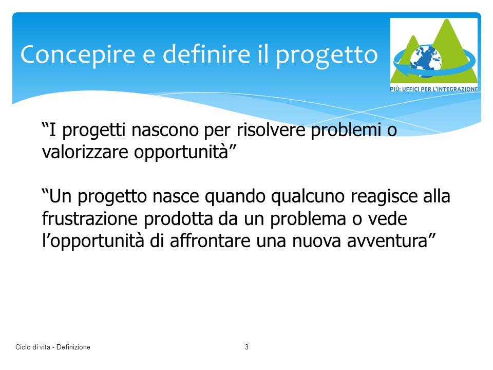 Ciclo di vita - Definizione4 Concepire e definire il progetto Occorre: - analizzare l'esigenza - definire obiettivo del progetto - elencare gli imperativi e gli aspetti desiderabili che dovrebbero essere presenti nel risultato finale - raccogliere i dati di base e i requisiti funzionali e prestazionali - i requisiti cogenti applicabili - analizzare esperienze precedenti - analizzare gli attori principali del progetto - definire i vincoli strategici