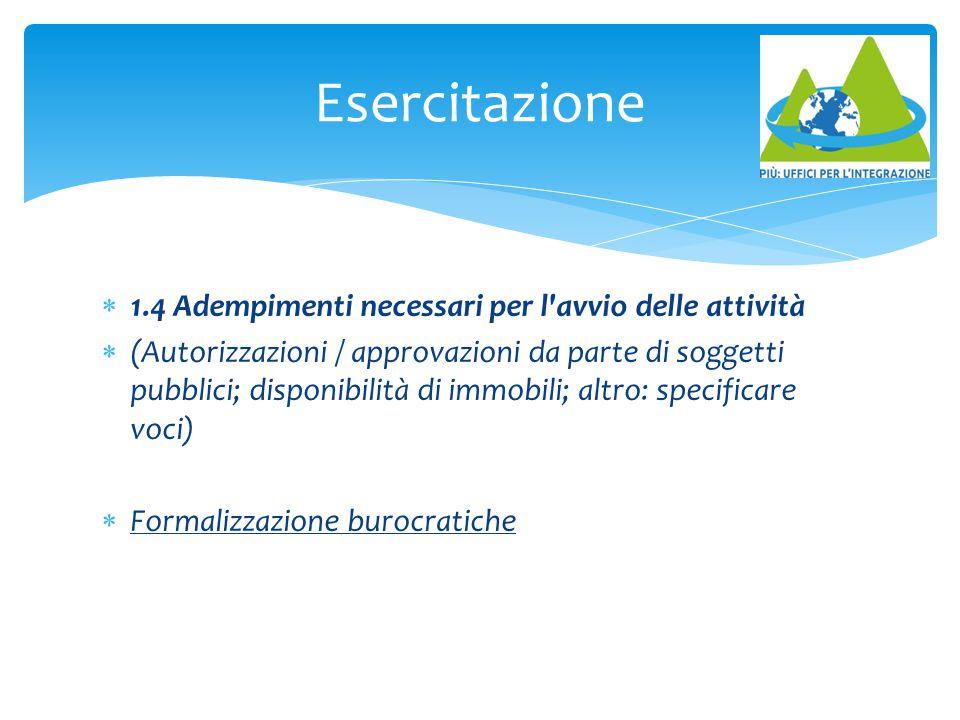 1.4 Adempimenti necessari per l'avvio delle attività  (Autorizzazioni / approvazioni da parte di soggetti pubblici; disponibilità di immobili; altr