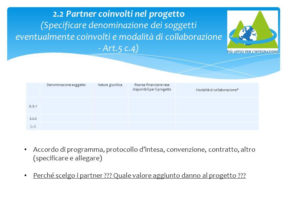 Denominazione soggettoNatura giuridicaRisorse finanziarie rese disponibili per il progetto Modalità di collaborazione* 2.2.1 2.2.2 (...) 2.2 Partner c