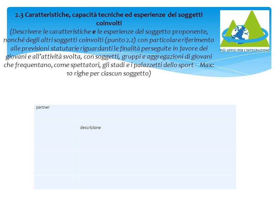 partner descrizione 2.3 Caratteristiche, capacità tecniche ed esperienze dei soggetti coinvolti (Descrivere le caratteristiche e le esperienze del sog