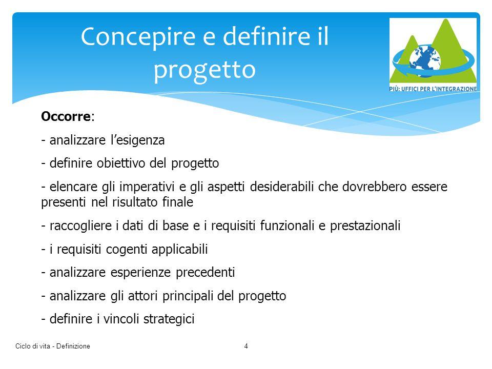 Ciclo di vita - Definizione4 Concepire e definire il progetto Occorre: - analizzare l'esigenza - definire obiettivo del progetto - elencare gli impera