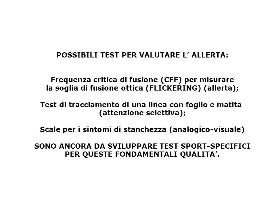 POSSIBILI TEST PER VALUTARE L' ALLERTA: Frequenza critica di fusione (CFF) per misurare la soglia di fusione ottica (FLICKERING) (allerta); Test di tr
