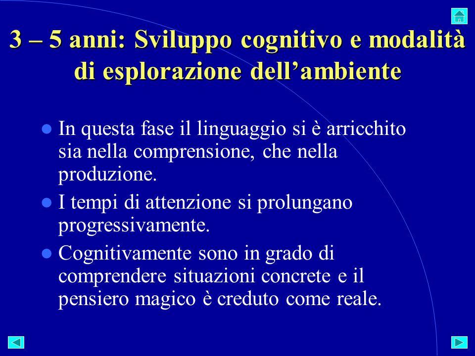 3 – 5 anni: Sviluppo cognitivo e modalità di esplorazione dell'ambiente In questa fase il linguaggio si è arricchito sia nella comprensione, che nella produzione.
