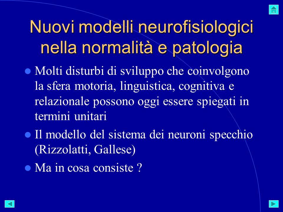 Nuovi modelli neurofisiologici nella normalità e patologia Molti disturbi di sviluppo che coinvolgono la sfera motoria, linguistica, cognitiva e relazionale possono oggi essere spiegati in termini unitari Il modello del sistema dei neuroni specchio (Rizzolatti, Gallese) Ma in cosa consiste