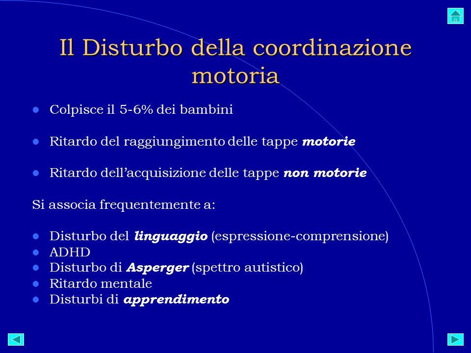 Il Disturbo della coordinazione motoria Colpisce il 5-6% dei bambini Ritardo del raggiungimento delle tappe motorie Ritardo dell'acquisizione delle tappe non motorie Si associa frequentemente a: Disturbo del linguaggio (espressione-comprensione)  ADHD Disturbo di Asperger (spettro autistico)  Ritardo mentale Disturbi di apprendimento
