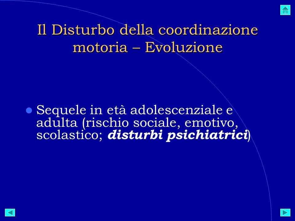 Il Disturbo della coordinazione motoria – Evoluzione Sequele in età adolescenziale e adulta (rischio sociale, emotivo, scolastico; disturbi psichiatrici ) 