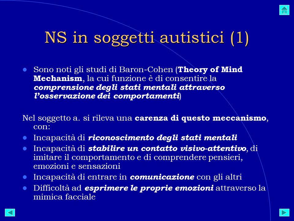 NS in soggetti autistici (1)  Sono noti gli studi di Baron-Cohen ( Theory of Mind Mechanism, la cui funzione è di consentire la comprensione degli stati mentali attraverso l'osservazione dei comportamenti )  Nel soggetto a.