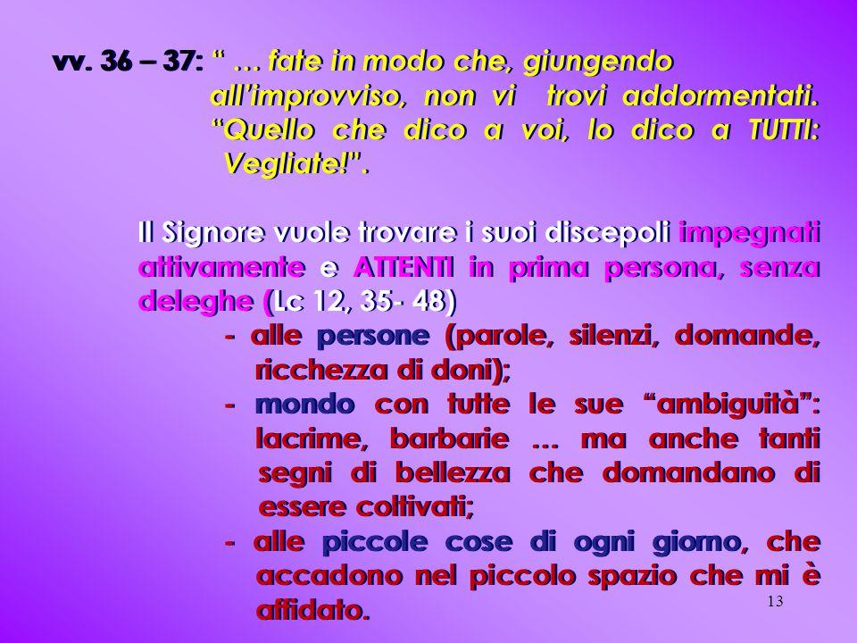 vv. 36 – 37: … fate in modo che, giungendo all'improvviso, non vi trovi addormentati.