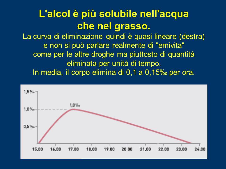 L'alcol è più solubile nell'acqua che nel grasso. La curva di eliminazione quindi è quasi lineare (destra) e non si può parlare realmente di