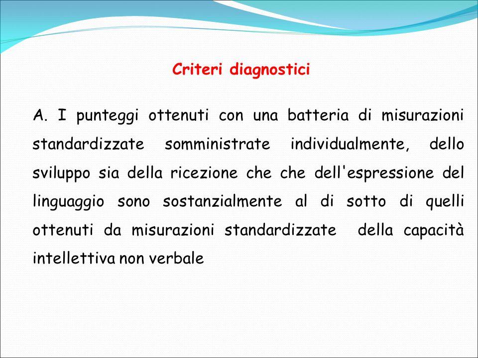 Criteri diagnostici A. I punteggi ottenuti con una batteria di misurazioni standardizzate somministrate individualmente, dello sviluppo sia della rice
