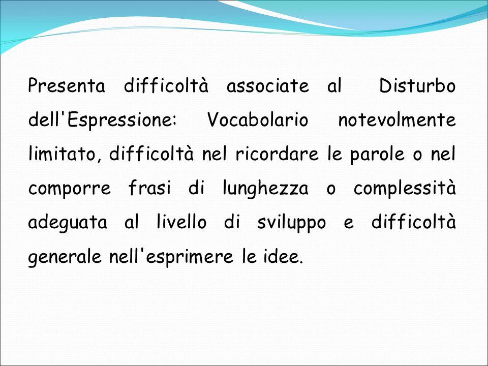 Presenta difficoltà associate al Disturbo dell'Espressione: Vocabolario notevolmente limitato, difficoltà nel ricordare le parole o nel comporre frasi