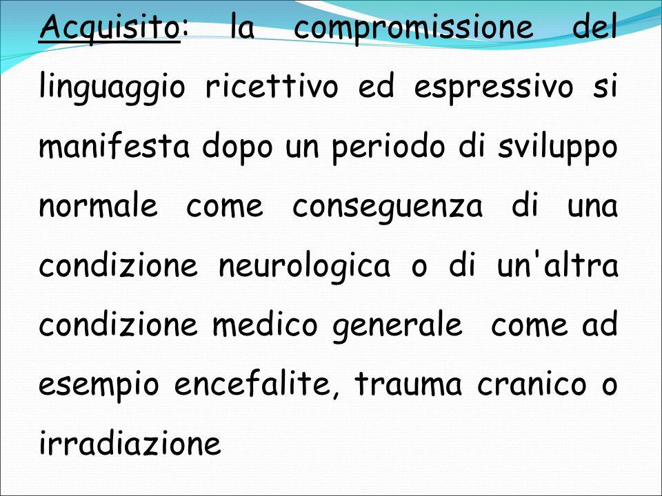Acquisito: la compromissione del linguaggio ricettivo ed espressivo si manifesta dopo un periodo di sviluppo normale come conseguenza di una condizion
