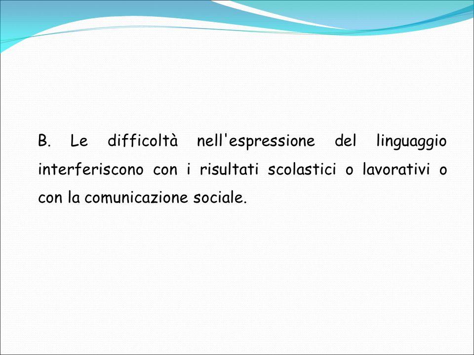 B. Le difficoltà nell'espressione del linguaggio interferiscono con i risultati scolastici o lavorativi o con la comunicazione sociale.