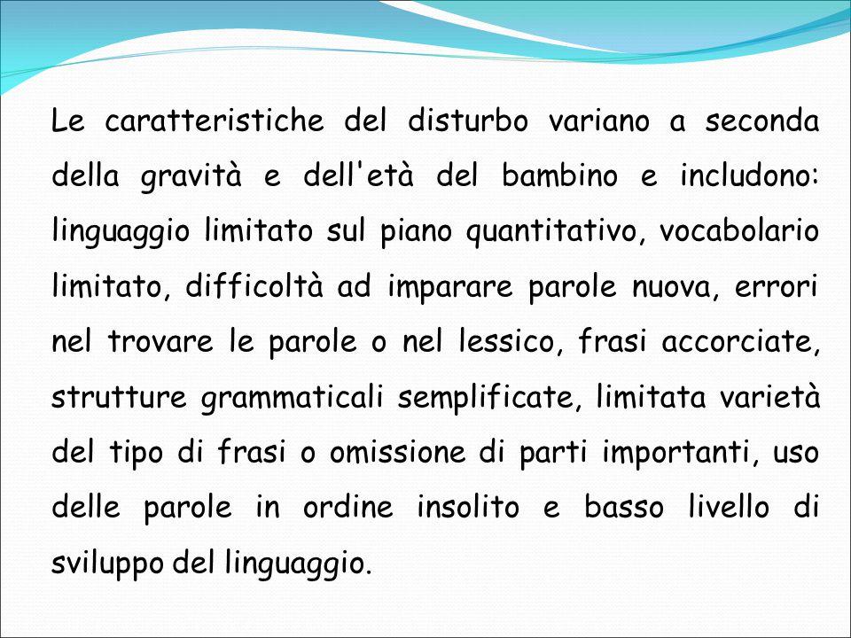 Le caratteristiche del disturbo variano a seconda della gravità e dell'età del bambino e includono: linguaggio limitato sul piano quantitativo, vocabo
