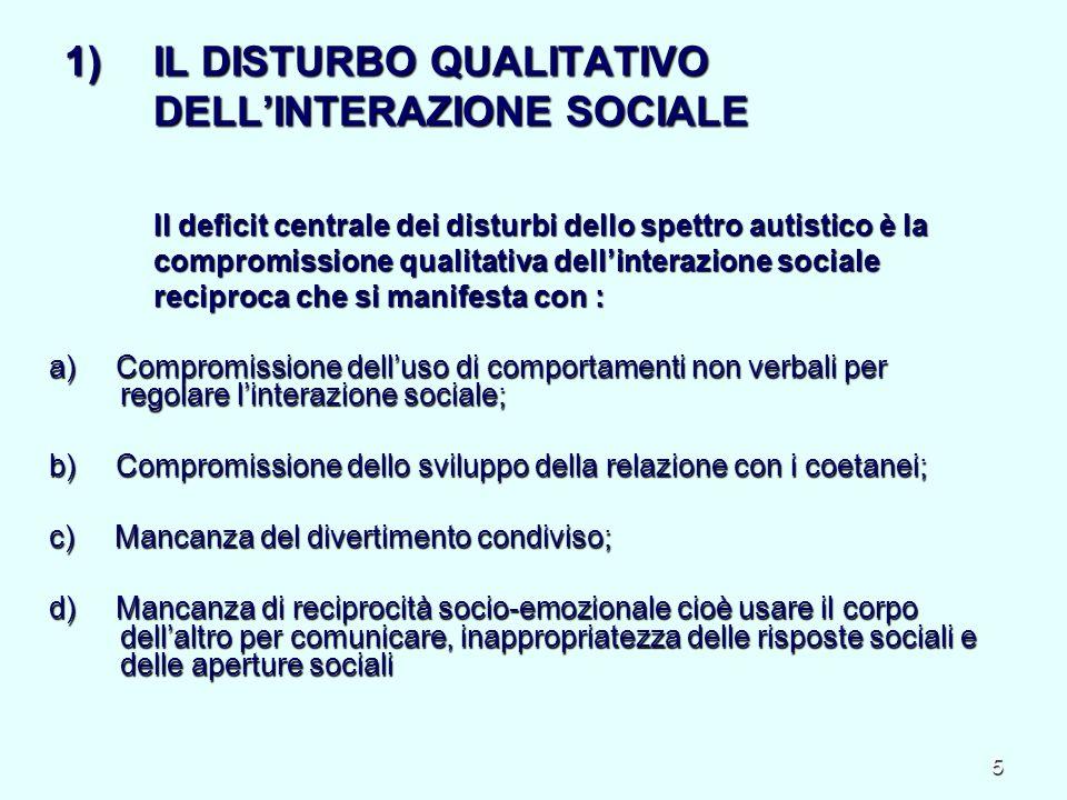 6 2) IL DISTURBO QUALITATIVO DELLA COMUNICAZIONE VERBALE E NON VERBALE Incapacità di appropriarsi di quei codici che servono per la comunicazione: Incapacità di appropriarsi di quei codici che servono per la comunicazione: linguaggio verbale, ma anche la componente posturo-cinetica (posture, sguardo, atteggiamenti mimici, gesti) e la linguaggio verbale, ma anche la componente posturo-cinetica (posture, sguardo, atteggiamenti mimici, gesti) e la componente non verbale del linguaggio (intonazione, prosodia, pause).