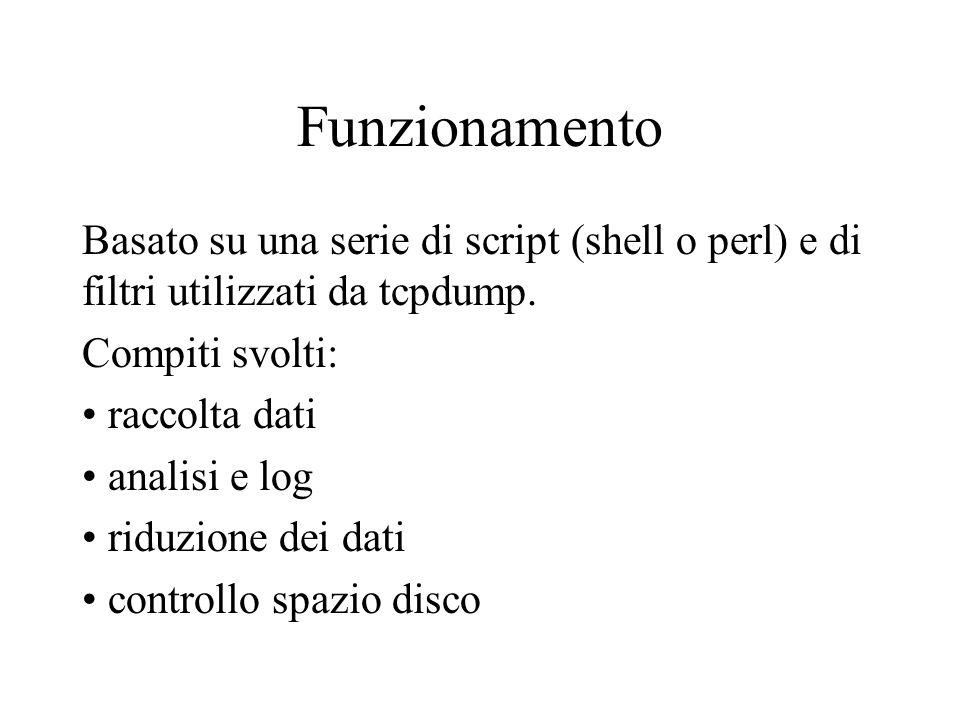 Funzionamento Basato su una serie di script (shell o perl) e di filtri utilizzati da tcpdump.