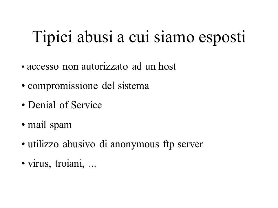Tipici abusi a cui siamo esposti accesso non autorizzato ad un host compromissione del sistema Denial of Service mail spam utilizzo abusivo di anonymous ftp server virus, troiani,...
