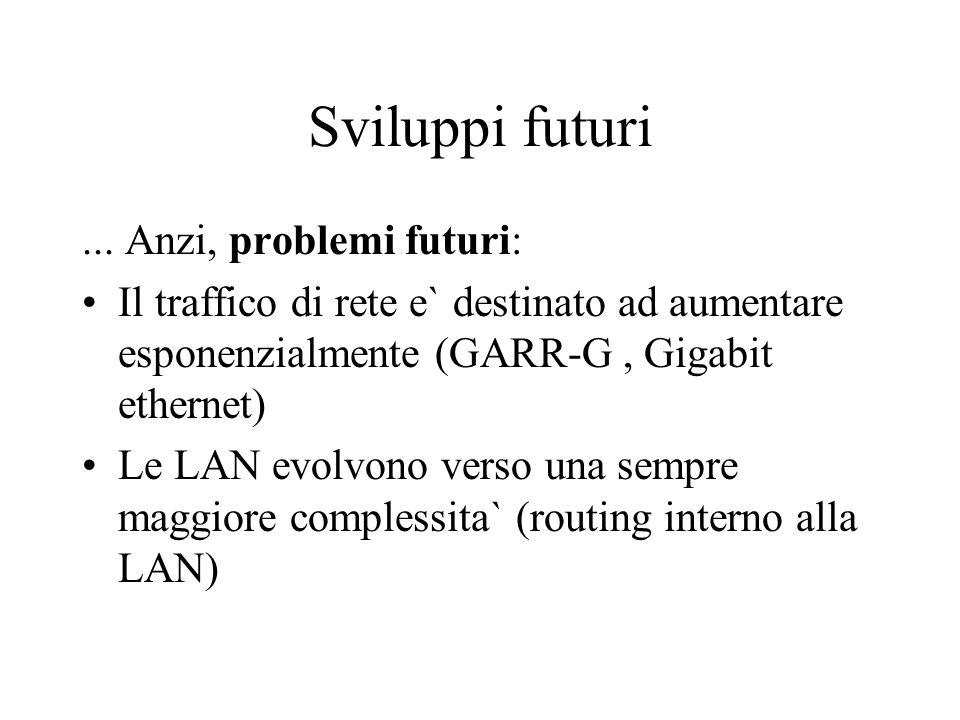 Sviluppi futuri... Anzi, problemi futuri: Il traffico di rete e` destinato ad aumentare esponenzialmente (GARR-G, Gigabit ethernet) Le LAN evolvono ve