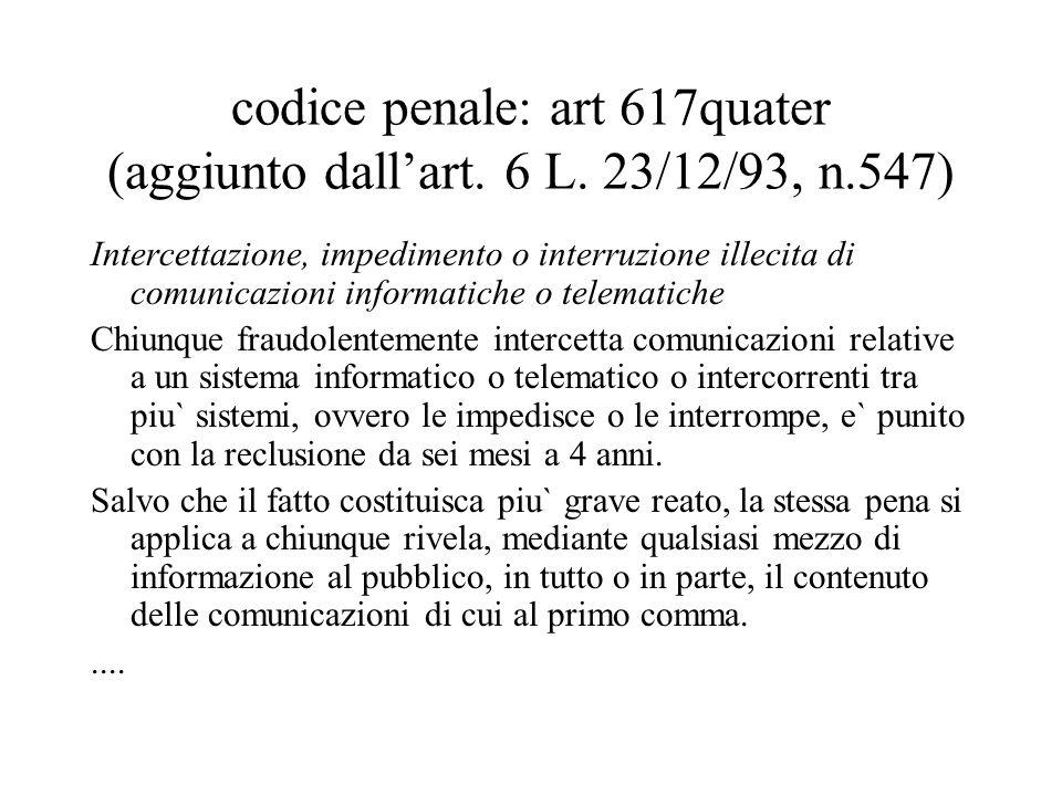 codice penale: art 617quater (aggiunto dall'art. 6 L.