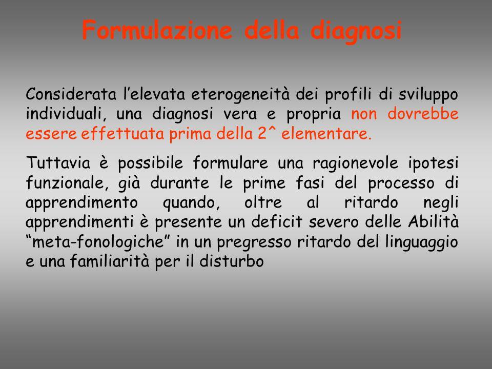 Formulazione della diagnosi Considerata l'elevata eterogeneità dei profili di sviluppo individuali, una diagnosi vera e propria non dovrebbe essere ef