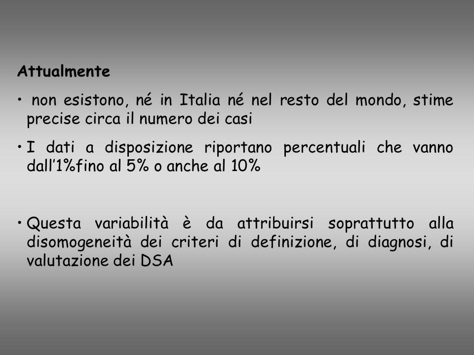 Attualmente non esistono, né in Italia né nel resto del mondo, stime precise circa il numero dei casi I dati a disposizione riportano percentuali che