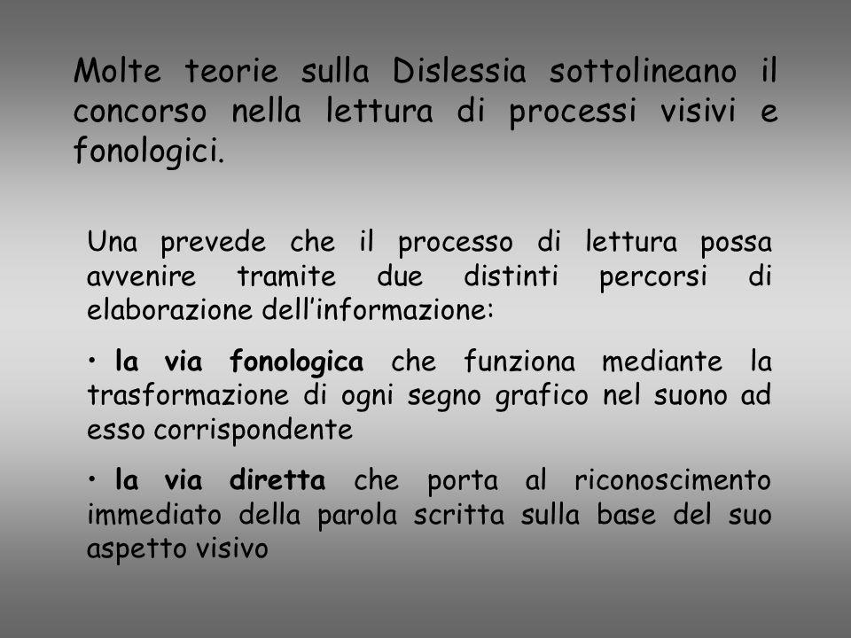 Molte teorie sulla Dislessia sottolineano il concorso nella lettura di processi visivi e fonologici. Una prevede che il processo di lettura possa avve