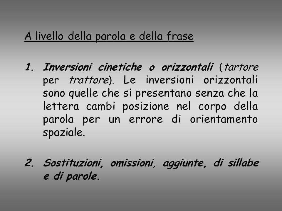 A livello della parola e della frase 1.Inversioni cinetiche o orizzontali (tartore per trattore). Le inversioni orizzontali sono quelle che si present