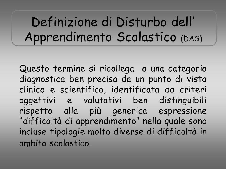 Definizione di Disturbo dell' Apprendimento Scolastico (DAS) Questo termine si ricollega a una categoria diagnostica ben precisa da un punto di vista