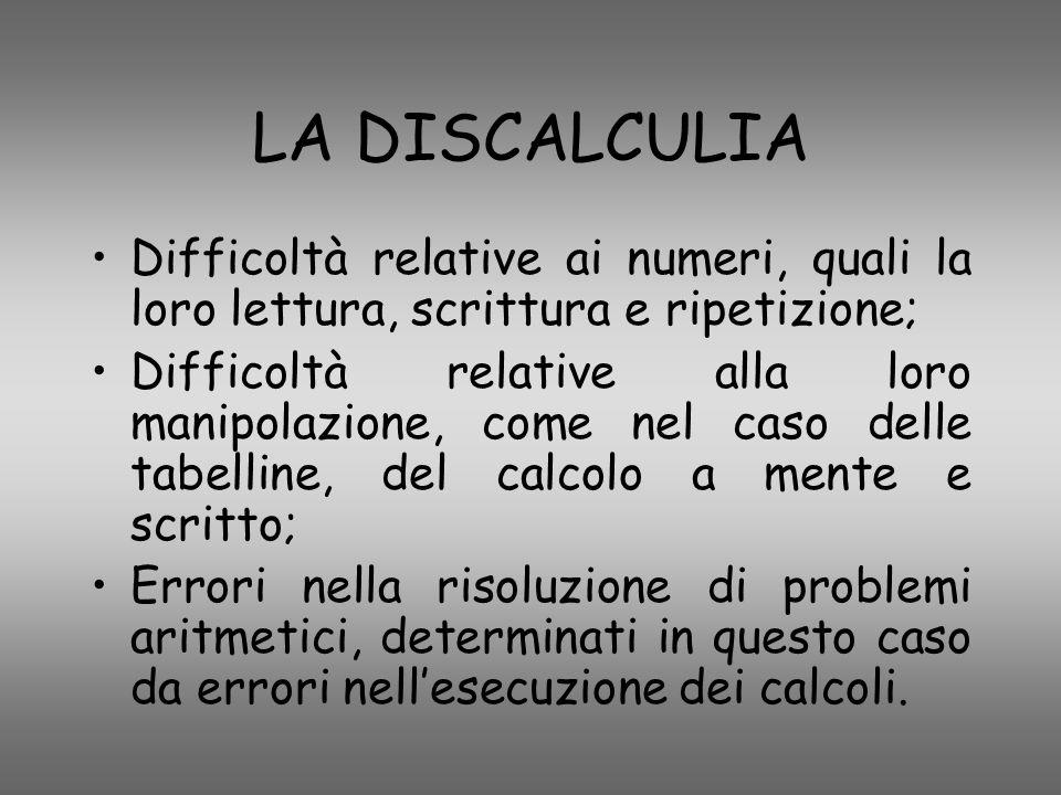LA DISCALCULIA Difficoltà relative ai numeri, quali la loro lettura, scrittura e ripetizione; Difficoltà relative alla loro manipolazione, come nel ca
