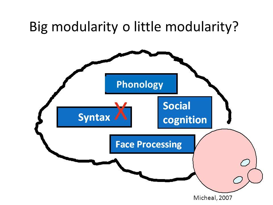 Modularità del linguaggio Big modularity: – Quanto è indipendente il linguaggio dal resto della cognizione.