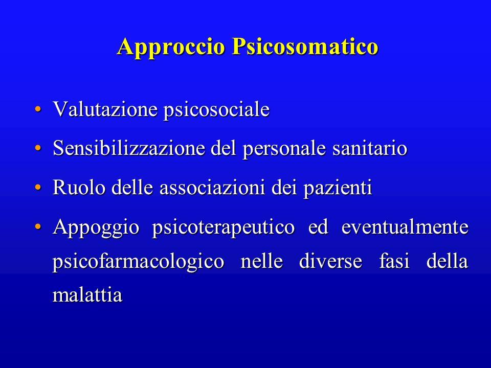 Approccio Psicosomatico Valutazione psicosocialeValutazione psicosociale Sensibilizzazione del personale sanitarioSensibilizzazione del personale sani