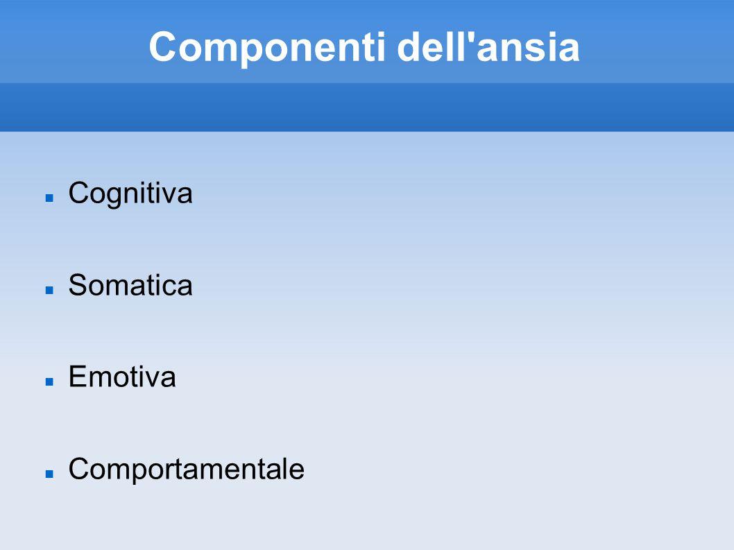 Componenti dell ansia Cognitiva Somatica Emotiva Comportamentale