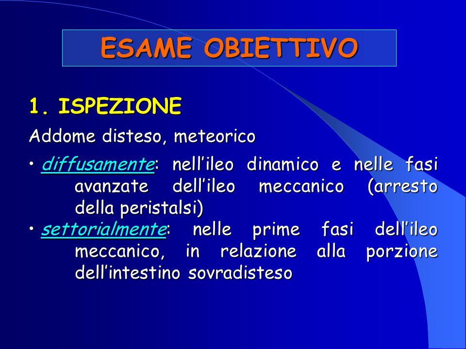 ESAME OBIETTIVO 1. ISPEZIONE Addome disteso, meteorico diffusamente: nell'ileo dinamico e nelle fasi avanzate dell'ileo meccanico (arresto della peris