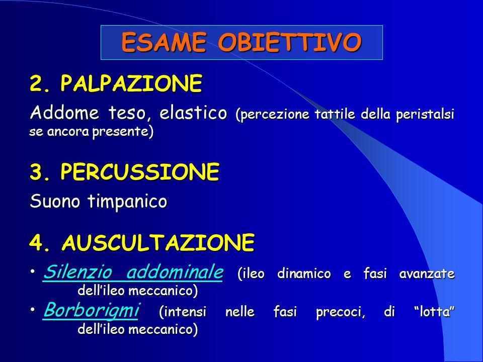 ESAME OBIETTIVO 2. PALPAZIONE Addome teso, elastico (percezione tattile della peristalsi se ancora presente) 3. PERCUSSIONE Suono timpanico 4. AUSCULT
