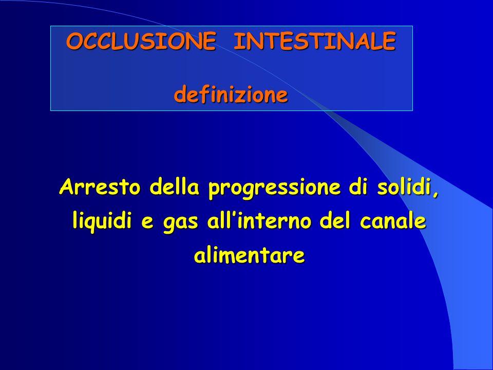 OCCLUSIONE INTESTINALE definizione Arresto della progressione di solidi, liquidi e gas all'interno del canale alimentare