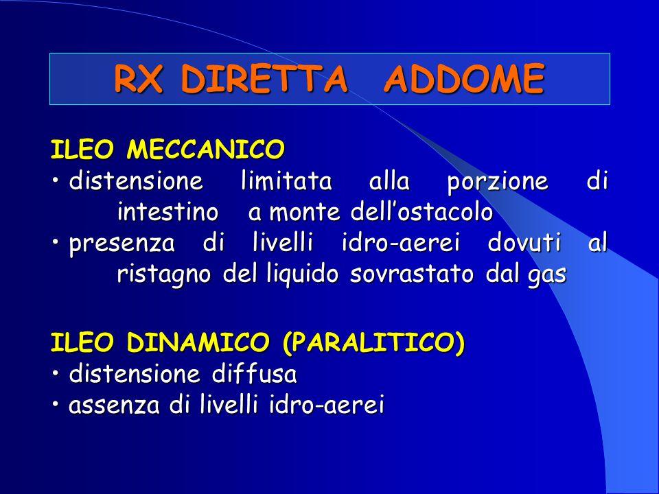 RX DIRETTA ADDOME ILEO MECCANICO distensione limitata alla porzione di intestino a monte dell'ostacolo distensione limitata alla porzione di intestino