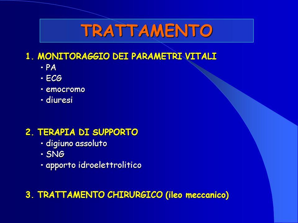 TRATTAMENTO 1. MONITORAGGIO DEI PARAMETRI VITALI PA PA ECG ECG emocromo emocromo diuresi diuresi 2. TERAPIA DI SUPPORTO digiuno assoluto digiuno assol