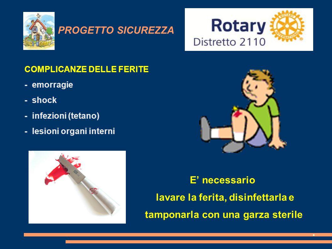 PROGETTO SICUREZZA COMPLICANZE DELLE FERITE - emorragie - shock - infezioni (tetano) - lesioni organi interni E' necessario lavare la ferita, disinfet