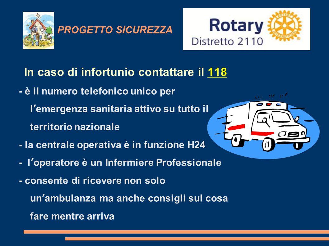 PROGETTO SICUREZZA In caso di infortunio contattare il 118 - è il numero telefonico unico per l'emergenza sanitaria attivo su tutto il territorio nazi