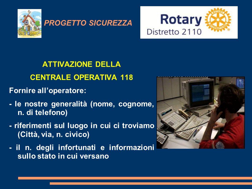 PROGETTO SICUREZZA ATTIVAZIONE DELLA CENTRALE OPERATIVA 118 Fornire all'operatore: - le nostre generalità (nome, cognome, n. di telefono) - riferiment