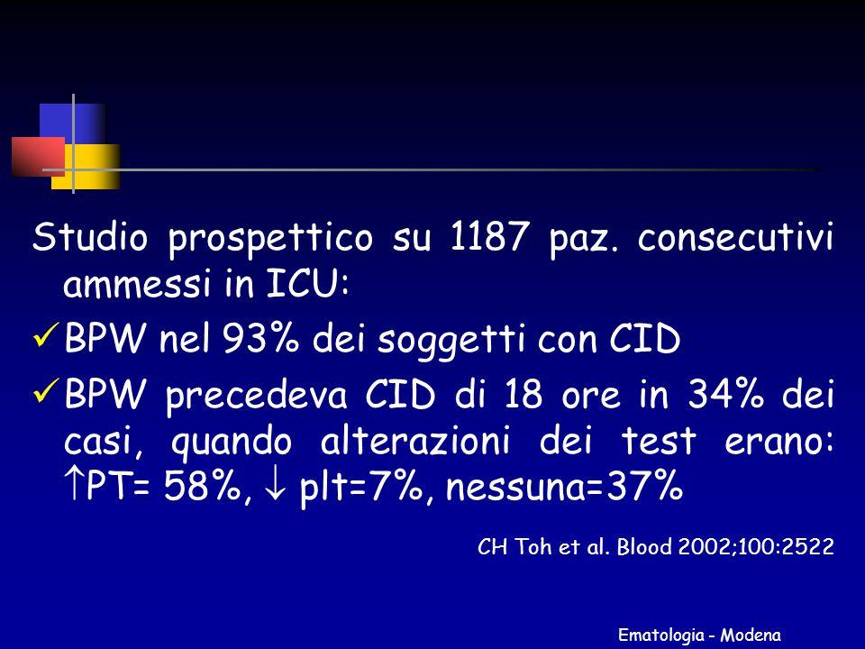 Ematologia - Modena Studio prospettico su 1187 paz. consecutivi ammessi in ICU: BPW nel 93% dei soggetti con CID BPW precedeva CID di 18 ore in 34% de