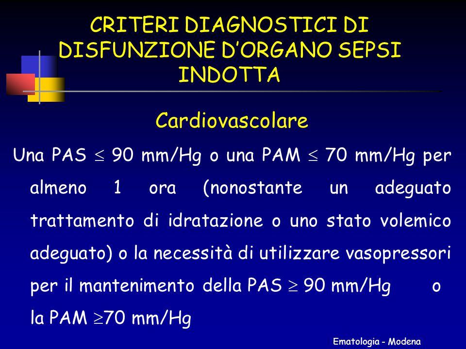 Ematologia - Modena CRITERI DIAGNOSTICI DI DISFUNZIONE D'ORGANO SEPSI INDOTTA Cardiovascolare Una PAS  90 mm/Hg o una PAM  70 mm/Hg per almeno 1 ora